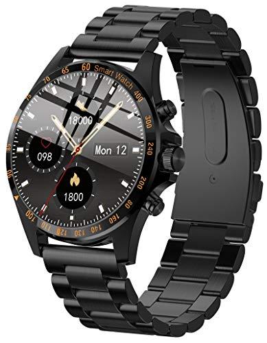 Smartwatch Herren Touchscreen Bluetooth Fitness Armband Pulsuhr Uhr mit Blutdruckmessung für Android IOS Laufuhr Sport Schrittzähler Kalorienzähler Wasserdicht