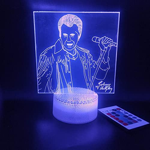 Lámpara decorativa de luces nocturnas para niños en 3D de Johnny Hallyday con control remoto táctil inteligente, 16 colores, ilusión óptica, mesa cambiante, regalos para niños