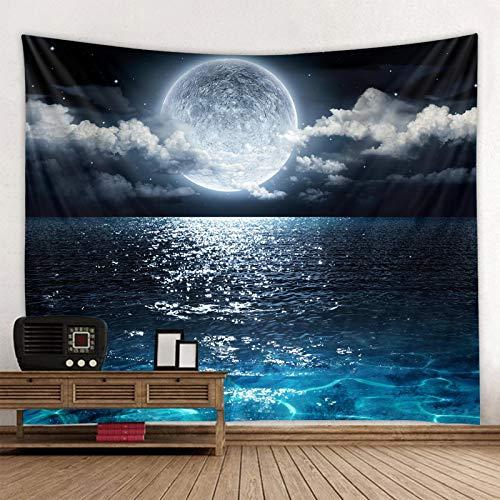 shuimanjinshan Universo Galaxy Hermosa Aurora Luna bajo el Cielo Nocturno Impreso Tapiz de Fondo Decoración de Pared Tela Bohemia Hippie 130X150Cm