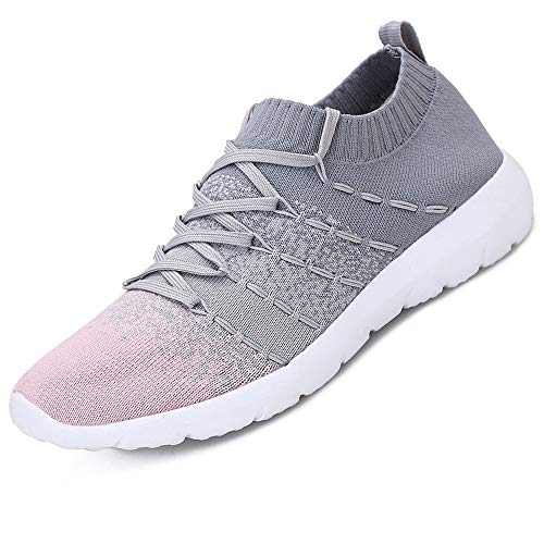 Pt&Hq Comfortable Tennis Running Shoes for Women Lightweight and Slip On Sneakers Casual Women's Walking Shoes Pink 9
