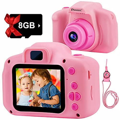 PROGRACE Kids Camera 2 Inch IPS Children Digital Cameras for Girls 1080P Video Camcorder Toddler Camera for Kids Birthday Gifts for 4-12 Year Old Boys Girls Toys with SD Card-Pink
