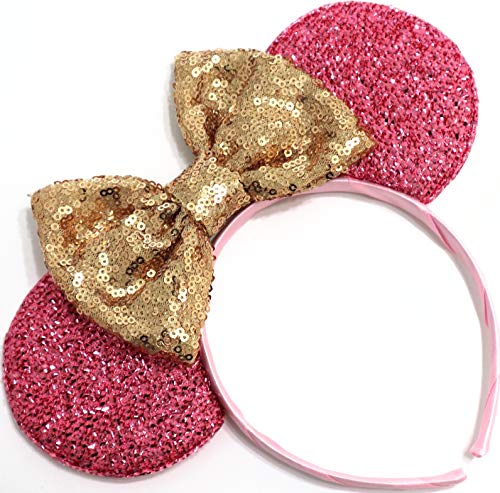 CLGIFT Pink Mickey Ears, Handmade Sleeping Beauty Inspired Mouse Ears Headband Rose Gold Minnie Ears one Size fits All