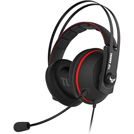 ASUS TUF Gaming H7 Core Cuffie su PC e PS4, Driver ASUS Essence, Camera Airtight, Robusta Fascia in Acciaio, Colore Rosso