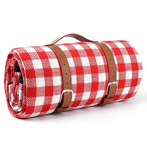 Klsniur Picnic Blanket Waterproof, Extra Large Beach Blanket SandProof,Portable Camping Blanket Oversized,Stadium Blanket Extra Thick,Park Handy Mat-Soft Fleece and Padding(Red)