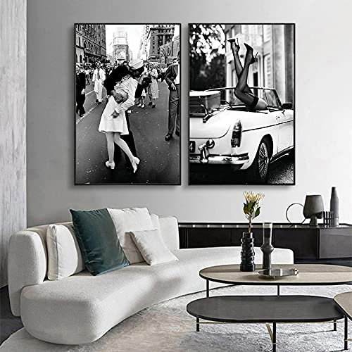 Póster Arte de la pared Impresión en blanco y negro Pintura de la lona Perfume Mujer Imágenes para la sala de estar Decoración del hogar de la vendimia 40x60cmx2pcs Sin marco