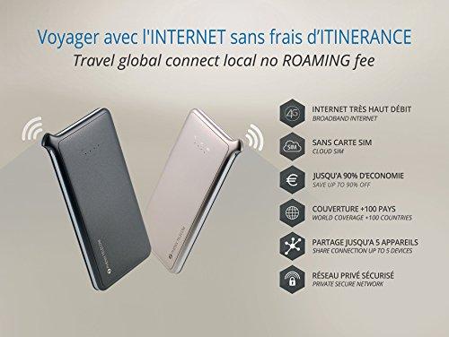Phenix Roaming Hotspot–4G sin Tarjeta SIM: Internet confidencial en 4G illimité/Protectora Mondial + 100País/Ultra Simple AUCUNE configuración/partición de conexión de hasta 5Dispositivos