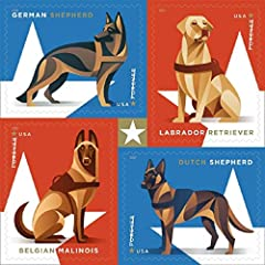 These new red, white and blue forever postage stamps featuring military working dogs are designed to honor the nation's brave and loyal canines The sheet of 20 stamps features artist renderings of four breeds commonly used as military working dogs: G...
