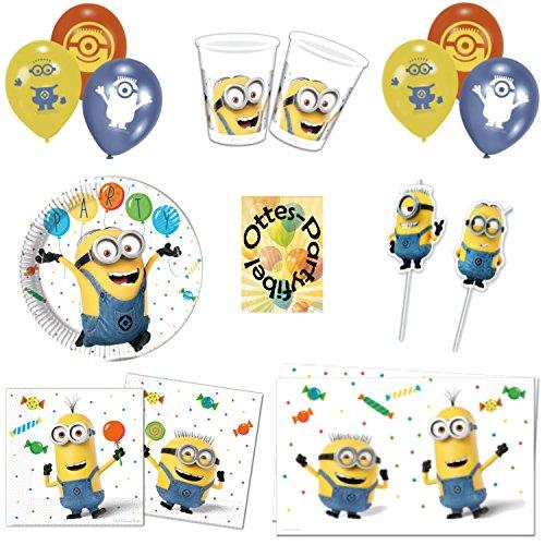 HHO Minions Balloons Partyset 49tlg. Teller Becher Servietten Tischdecke Luftballons Trinkhalme für 6 Kinder