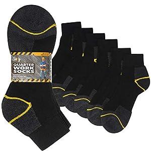 12 pares de calcetines de trabajo resistentes para hombre, tamaño 6 – 11, calcetines de seguridad para botas de acero