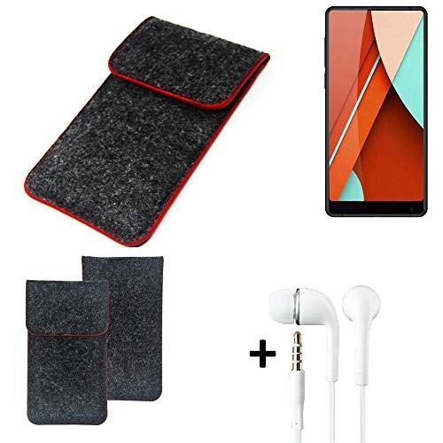 K-S-Trade® Handy Schutz Hülle Für Bluboo D5 Pro Schutzhülle Handyhülle Filztasche Pouch Tasche Case Sleeve Filzhülle Dunkelgrau Roter Rand + Kopfhörer