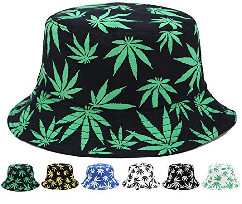 FGSS Weed-Marijuana Bucket-Hat Cotton Reversible - UV-Protection-Hat Packable Summer (Green,M)