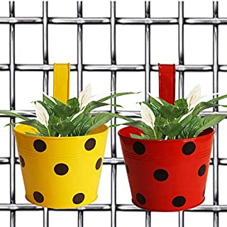 Gardener Shopping Bingo Round Dotted Railing Planter Pots (Yellow and Red) 2 Pieces