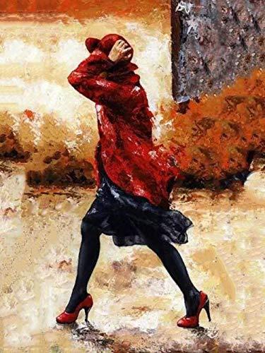 FGBEKNB Pintar por Numeros Bricolaje Lienzo Pintura al óleo Kits con acrílica y Pinceles Decoración del Hogar para Adultos Niños Principiantes 40×50 cm Sin Marco(Mujer rian Caminar)