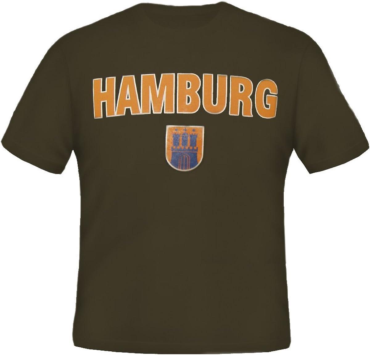 Brubaker Camiseta con diseño de Hamburgo, en 8 colores fuertes, puro algodón, talla S – XXXL