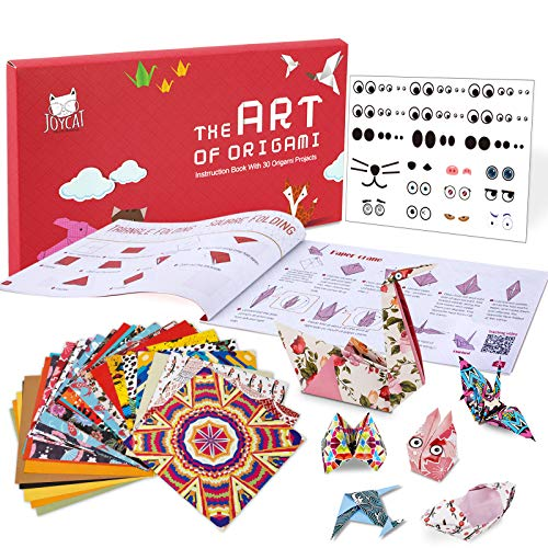 JoyCat color kit de origami para niño,90 archivo de origami vívido de doble cara 30 páginas que enseña libro de origami español,adecuado para niños/clase de manualidades