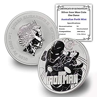 2018 TV Tuvalu 1 oz .9999 Fine Silver Iron Man Marvel Series Coin Brilliant Uncirculated w/Certificate of Authenticty by CoinFolio $1 BU
