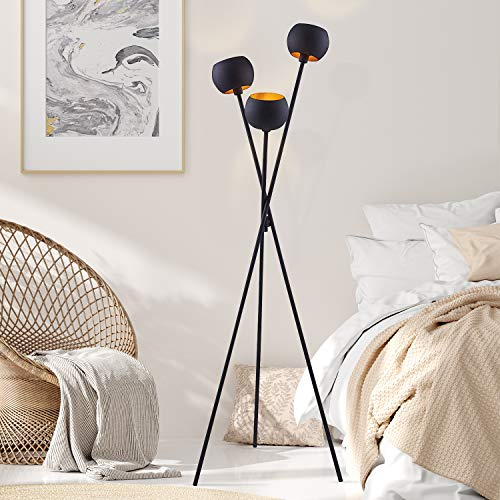 Archiology Black Modern Floor Lamp ,with 3 Matte Black Globe Head and Interwining Tripod Legs-Metal Tripod Floor Lamp for Mid-Century Living Room...