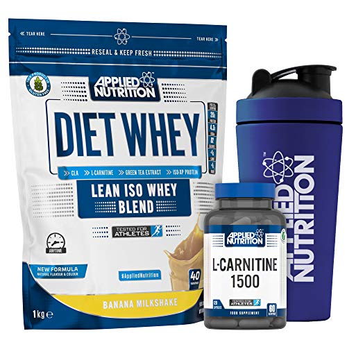 Applied Nutrition Bundle: Diet Whey Protein Powder Low Carb Low Sugar 1kg + L-Carnitine 1500mg 120 Capsules + 750ml Steel Protein Shaker (Banana)