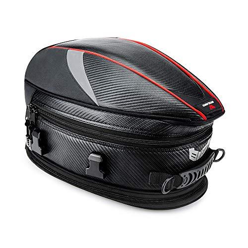 WOSAWE Motorcycle Seat Bag Waterproof Bike Tail Bag Expandable PU Leather Helmet Bag, 16-21 Liters