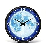 掛け時計 壁掛け 時計 壁掛け時計ミュート強い夜の光大きな時計テーブルリビングルーム創造的な寝室夜の光壁掛け時計デジタル人格現代時計 ギラン (Color : Black)