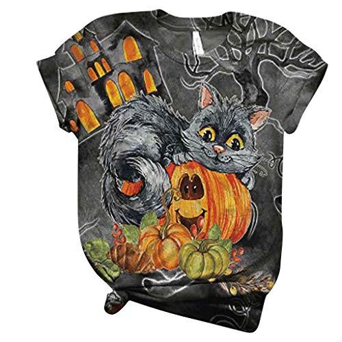 3D Gothic T-Shirt Damen Schädel Shirt Lustig Kürbis Bluse Kurzarm Rundhals T Shirts Frauen Retro Cool Tshirt Halloween Kostüme Lässig Blusen Oberteil Magie Tee Tops Bluse