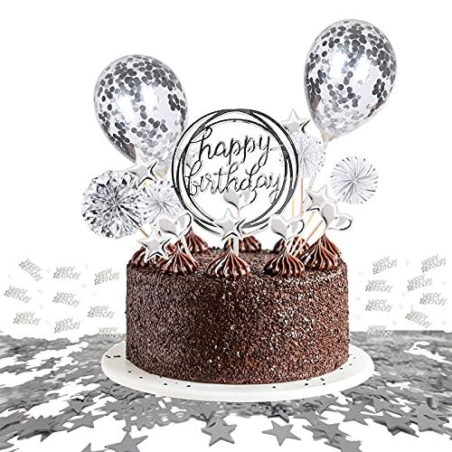 JSTC Tortendeko Silber, Happy Birthday Tortendeko Geburtstag Kuchen Deko Cake Topper Kuchendeko Torte Dekoration für Geburtstagsdeko Mädchen Junge Kindergeburtstag Mann Frau Geburtstagstorte.