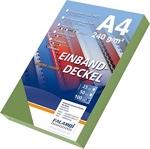 100 Einbanddeckel Lederstruktur, Falambi / Premium 240 Rückenkarton (grün)