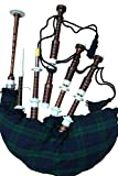 McWilliams PROFESSIONAL SCOTTISH HIGHLAND BAGPIPE IVORY MOUNTS BLACK WATCH TARTAN AND BAG