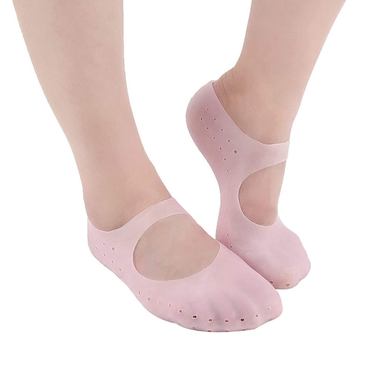 TerGOOSE シリコンソックス ゲル 潤い 保湿 ジェル靴下 角質ケアパック かかと 指先ケア ひび割れ 痛みの緩和 滑り止め 伸びる 通気穴付き ソックス 足裂対策 あかぎれ対処 抗菌 乾燥 予防 衝撃吸収 皮膚保護 足底筋膜炎 美足 男女兼用 1ペア(L ピンク)