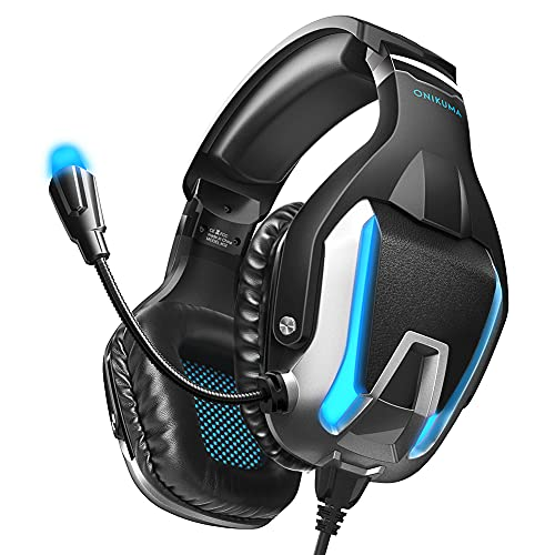 ONIKUMA Gaming-Headset, Geräuschunterdrückung, Gaming-Kopfhörer mit Mikrofon und Surround-Sound, LED-Licht, kompatibel mit PS4, PS5, PC, Mac, Laptops, Xbox One (Adapter nicht im Lieferumfang enthalten)