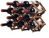 Delgeo Portabottiglie per Vino in Legno Portabottiglie Autoportante, 10 Bottiglie da Appoggio Portabottiglie da Appoggio per Vino da Appoggio per Vino Bianco Rosso