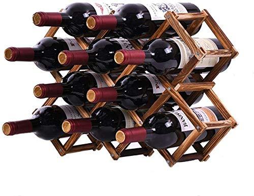 Delgeo Botellero de Madera,Soporte para Botella de Vino de Madera Soporte para Botella de Vino de pie Independiente, 10 Botellas Soporte para Botella de Vino de pie Rojo Vino Blanco