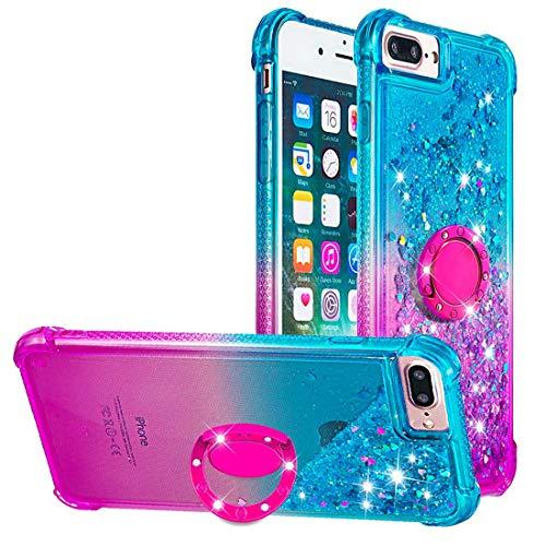 Dclbo Funda para iPhone 6 Plus/6S Plus/7 Plus/8 Plus, funda para teléfono móvil, purpurina, Blau und Lila