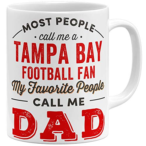OM3 Taza de cerámica para fans de Tampa-Bay, 325 ml, impresa por ambos lados, color blanco