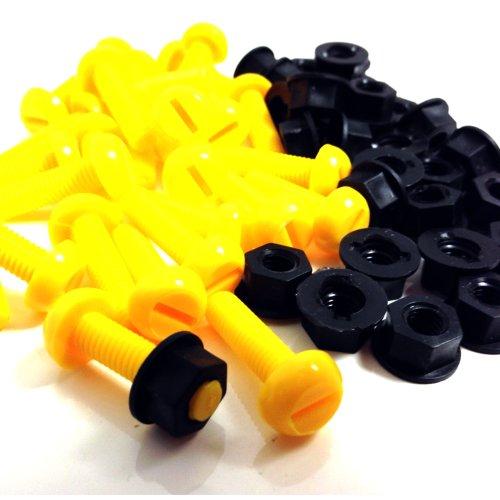 Kunststoff-Nummernschild-Befestigungs-Set für Motorräder, Schrauben und Muttern, 30 x gelbe Schrauben und 30 x schwarze Muttern