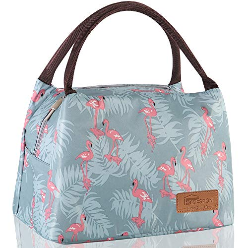 Homespon Lunch Bag Insulated Lunch Box Reusable Food Tote Large Handbag Leakproof Waterproof Keep WarmCoolFresh for AdultsChildren to OfficeSchoolPicnicblue-flamingo