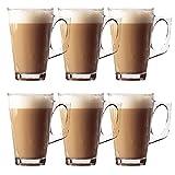 Taylor & Brown - Tazas de Cristal con asa para café Latte, té, café, Capuccino. Tazas para Bebidas Calientes, de 240 ml.