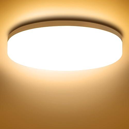 NIXIUKOL Plafonnier Led 18W, Luminaire Plafonnier 3000K, IP54 Imperméable Lampe Led, Plafonnier Chambre 1800LM Blanc ...