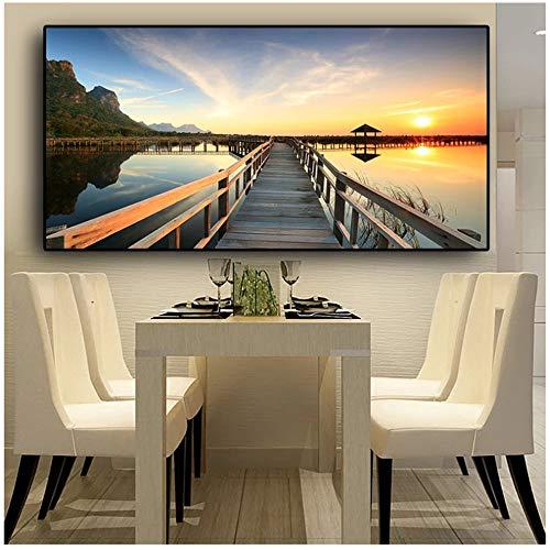 Atardeceres Puente Paisaje de lago de madera Carteles e impresiones Lienzo Pintura Cuadros Cuadro de arte de pared escandinavo para sala de estar 40x80cm (16x32in)
