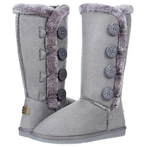 CLOVERLAY Women's Four Button Faux Fur Lined Shearling Mid Calf Winter Boots (9, Gray)