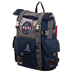 DURABLE - The NASA Roll-Top Backpack is made of heavy-duty polyester material that is built to last against the elements whether you;re trekking across the surface of the moon or down the street! MADE FOR COMFORT - The extra wide, padded straps rest ...