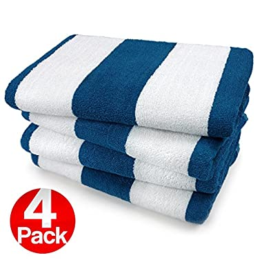 KAUFMAN- ROYAL BLUE CABANA STRIPE, LARGE BEACH AND POOL TOWEL SET OF 4. 100% COTTON MAXIMUM ABSORBENCY AND SOFTNESS