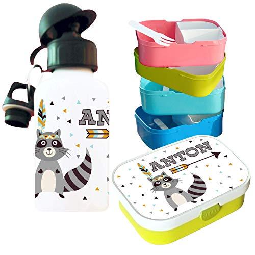 MissRompy Waschbär (791) Brotdose mit Name im Set mit Trinkflasche oder einzeln Vesperdose Brotzeitdose Brotbüchse Sportflasche Aluflasche