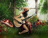 DIY Pintura por números Pintura de Lona para Adultos y niños con Pinturas acrílicas y-Seta chica tocando la guitarraImpresión de la Lona Mural Decoración hogareña Sin Marco -30x40cm