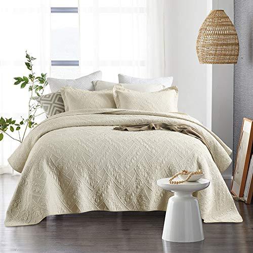 Qucover Tagesdecke Beige 220x240 aus Baumwolle Luxus Baumwolldecke für Bett Sofaüberwurf Bettüberwurf Set mit Kissenbezug Vintage Retro Stil Stickerei Steppmuster
