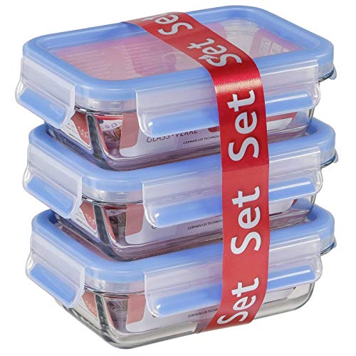 Emsa Clip&Close 514170 - Set de 3 conservadores hermético de cristal de borosilicatode 0.5 L, higiénico, no retiene olores ni sabores 100% libre de BPA