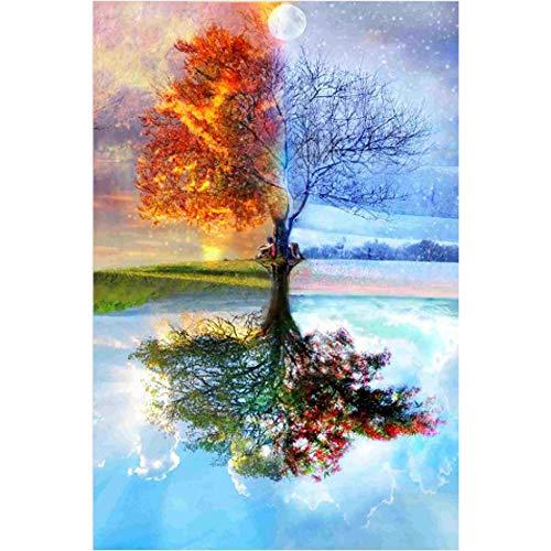 BOXSBAI Presente bricolaje rompecabezas 500/1000/2000/5000/6000 Piezas for niños adultos de edad avanzada, Grande Difícil mosaico de madera regalo de la pintura del paisaje del árbol, descompresión de