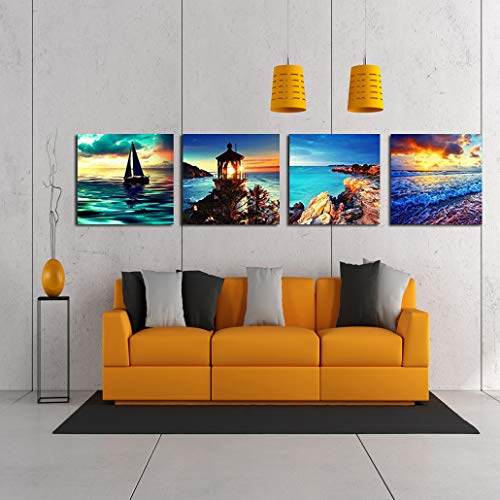 WSNDG HD computer spuiten schilderij vier blauwe bloemen, vier seizoenen landschap boom huisdecoratie canvas schilderij zonder fotolijst 40x40cmX4 F2
