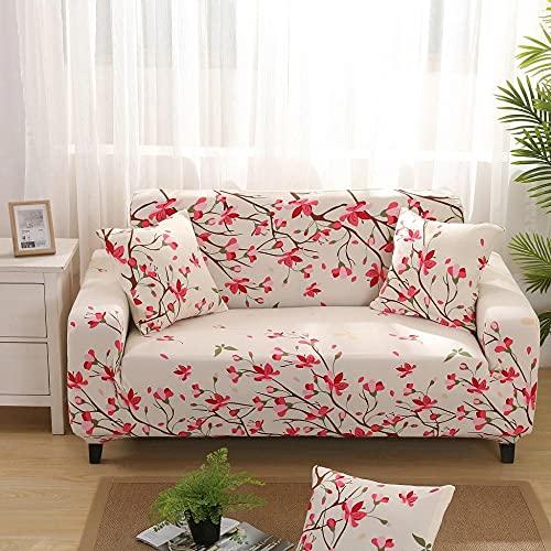 Funda de Sofá 2 Plazas Funda de Sofá Antideslizante con Diseño Elegante Universal Flor Rosa Funda Sofá Elástica Antideslizante Protector Cubierta de Muebles