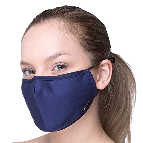 Anti Pollution 3 Layers - Adjustable Ear Loops Dust Cotton Cover (Extra 2 Filters) Washable and Reusable - Replacement Filter Pocket - with Nose Bridge - For Men and Women (Dark blue)